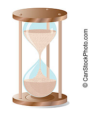 Sand glass clock, realistic vector illustration