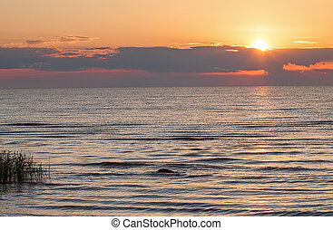 Ladoga Lake - Beautiful sunrise on Ladoga Lake, Russia, in...