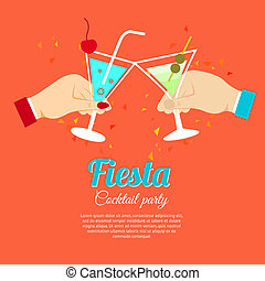 Cocktail party poster - Cocktail party fiesta two hands...