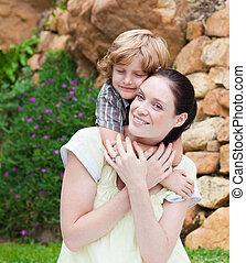 el suyo, agradable, madre, niño, Se abrazar