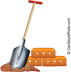A shovel and bricks - Illustration of a shovel and bricks on...