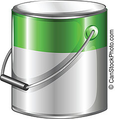 A can of green paint - Illustration of a can of green paint...