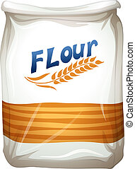 A packet of flour - Illustration of a packet of flour on a...