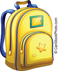 A yellow schoolbag - Illustration of a yellow schoolbag on a...