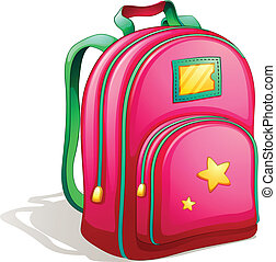 A pink schoolbag - Illustration of a pink schoolbag on a...