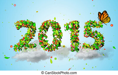 2015 New Year Leaves Particles orange Butterfly 3D