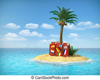 Desert tropical island with palm tree, chaise lounge,...