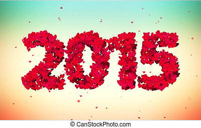 2015 Love Shape Particles 3D colorful background