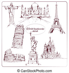 World landmark sketch set of eiffel tower kremlin statue of...