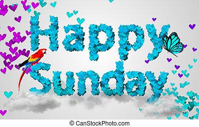 Happy Sunday Particles blue Heart Shape 3D