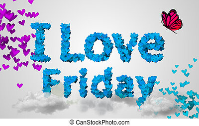 I love Friday Particles blue Heart Shape 3D