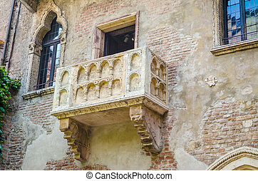 The famous balcony of Romeo and Juliet in Verona, Italy -...
