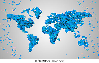 World Map Blue Love Shape Particles