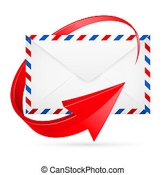 Envelope with red arrow around - Avia-mail envelope with...