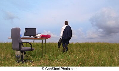 Telecommuting remote office in a green field - Telecommuting...