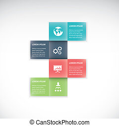 Square box business infographic option vector flat timeline
