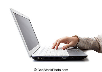 hand man lies on the laptop keyboard on a white