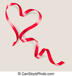 Heart made of red ribbon on gray background.