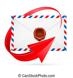 Envelope with stamp and arrow around - Avia-mail envelope...