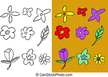 hand draw sketch of flowers - two set of hand draw sketch of...