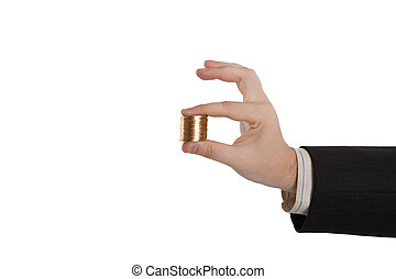 man's hand holding a stack of coins