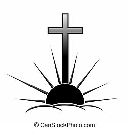 grief - a decorative element with cross for obituary