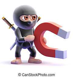 3d Ninja magnet - 3d render of a ninja assassin with a...