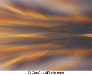 Reflection of colorful sunset cloud