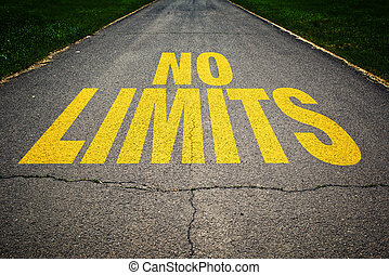No limits message on the road - No Limits message on asphalt...
