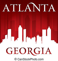 Atlanta Georgia city skyline silhouette red background -...