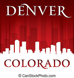 Denver Colorado city skyline silhouette red background -...