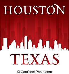 Houston Texas city skyline silhouette red background -...