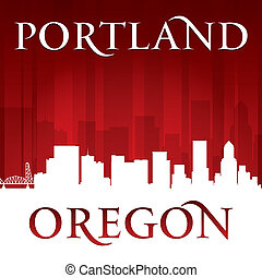 Portland Oregon city skyline silhouette red background