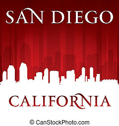 San Diego California city skyline silhouette red background...