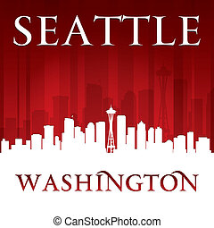 Seattle Washington city skyline silhouette red background