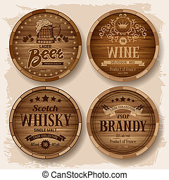 Casks with alcohol drinks - Set of wooden barrels with...