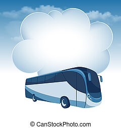 Passenger bus moving under the blue sky and white clouds....