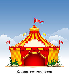Circus - Festive background with striped tent of vagrant...
