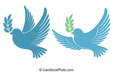 Pigeon - Dove with an olive branch - symbol of peace and...