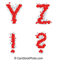 Romantic font - Letters Y, Z, query mark and exclamation...