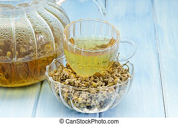 Infusion of chamomile aromatic hot served in a glass cup