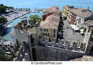 Aerial View of Sirmione from the Scaliger Castle, Italy -...