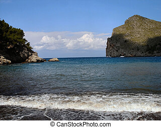 The bay Sa Calobra on Majorca - Steep coast and the bay Sa...