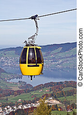 Cable car over alpine lake