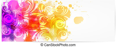 Abstract horizontal banner with modern swirly design -...