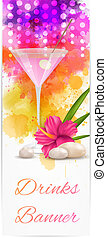 Banner with martini and hibiscus flowers - Vertical banner...