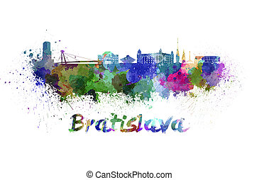 Bratislava skyline in watercolor splatters with clipping...