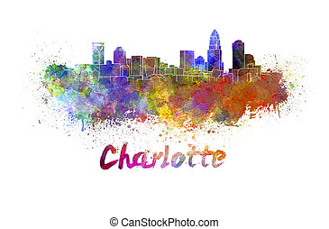Charlotte skyline in watercolor splatters with clipping path