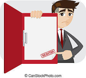 cartoon businessman showing rejected document in folder -...