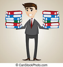 cartoon businessman carrying folders - illustration of...